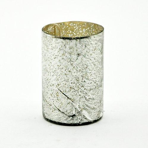 "6"" SILVER FOIL GLASS CANDLEHOLDER"