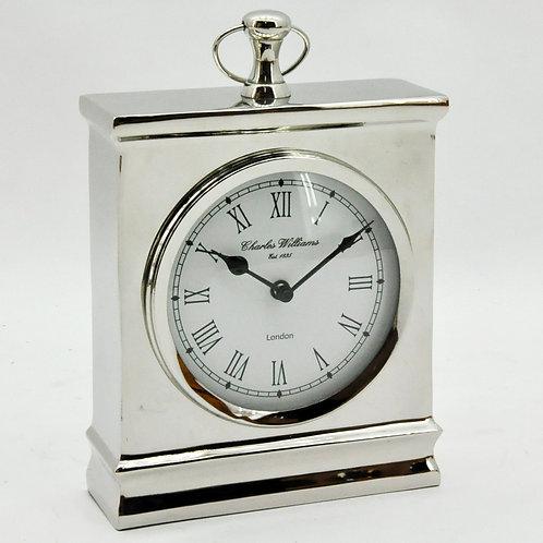 NICKEL FINISH TABLE CLOCK 26x26x5 cm