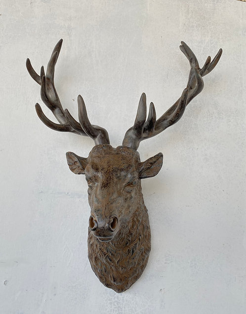 78CM BRONZE DEER HEAD