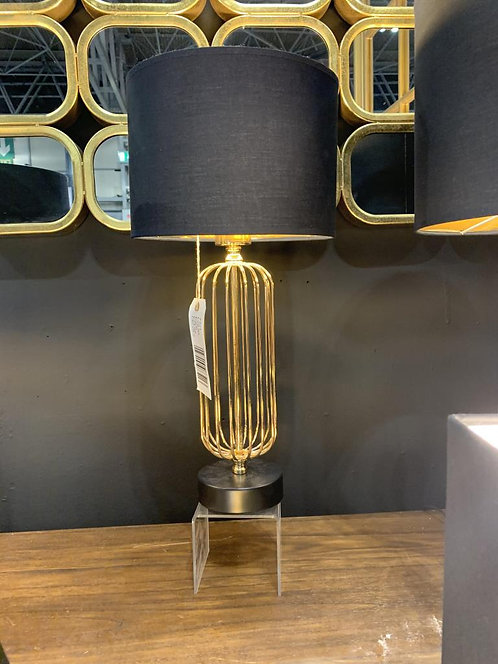 42CM GOLD LAMP AND BLACK SHADE