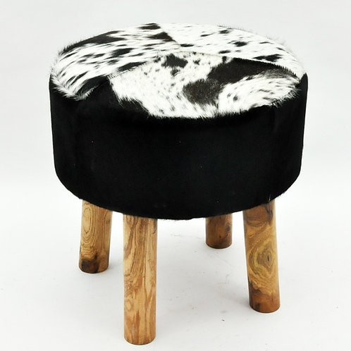 BLACK AND WHITE COW-HIDE STOOL 45x44x44cm