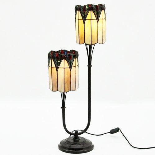 "6"" SHADE TWIN STEM TIFFANY LAMP"