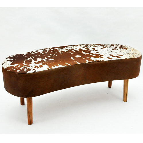 TAN AND WHITE COW-HIDE BENCH 48x120x50cm