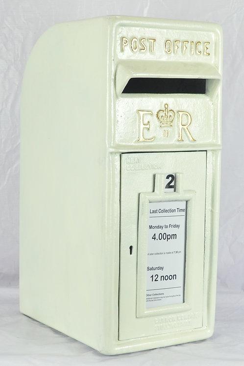 58CM WHITE CAST IRON POST BOX