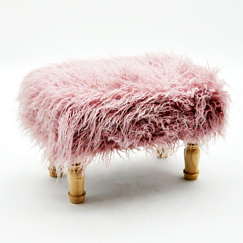 40X26CM PINK SQUARE FLUFFY FOOTSTOOL