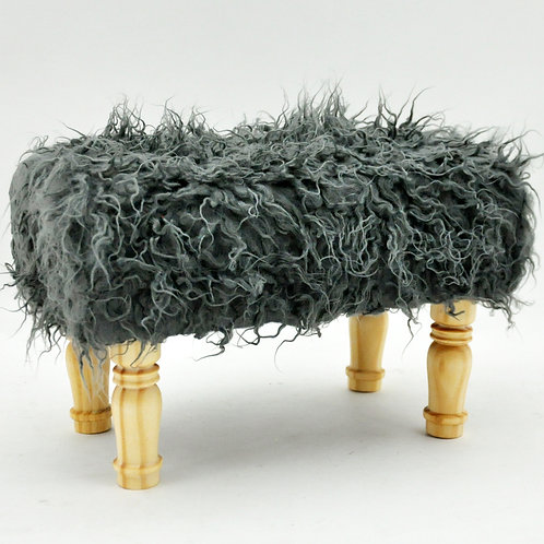 26x40X26CM DARK GREY  FLUFFY FOOTSTOOL