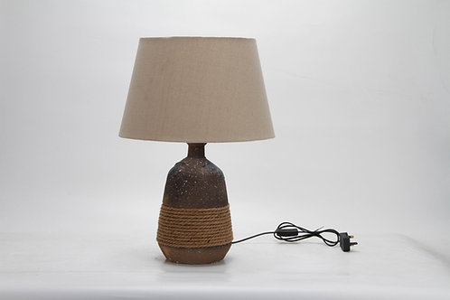 55CM RUSTIC/ROPE LAMP AND SHADE
