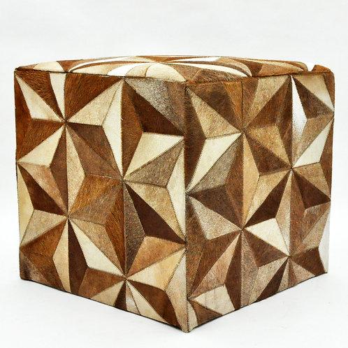 TAN STAR COW-HIDE POUFFE 45x45x45cm