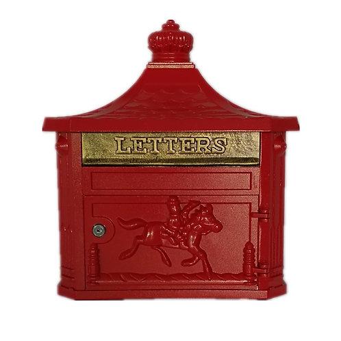 RED ALUMINIUM WALL MOUNTED POST BOX