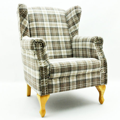 (1924)DOVE GREY CHECK FABRIC ARM CHAIR