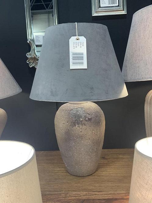 41CM RUSTIC LAMP AND GREY VELVET SHADE