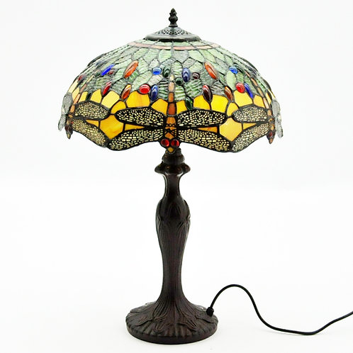 "16"" SHADE  GREEN DRAGONFLY TIFFANY LAMP"