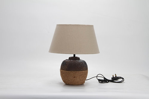 38CM RUSTIC/ROPE LAMP AND SHADE