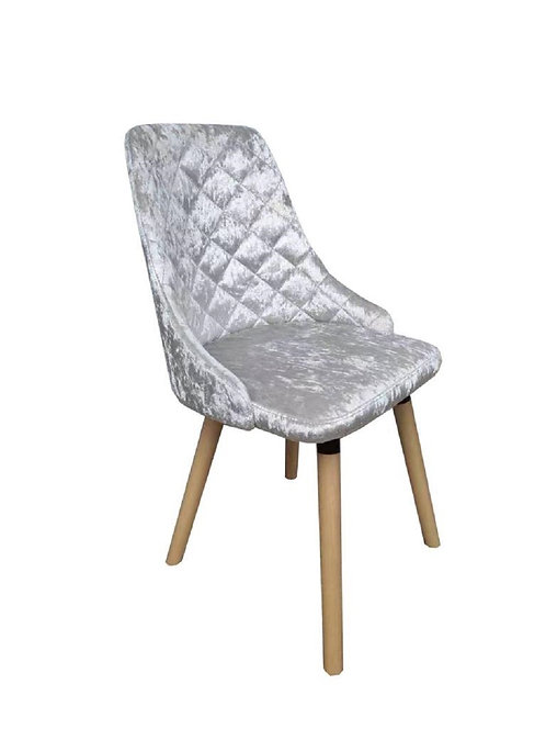 ICE CRUSHED VELVET DINING CHAIR-NATURAL LE