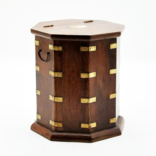 HEXAGONAL CHEST WITH BRASS FITTINGS