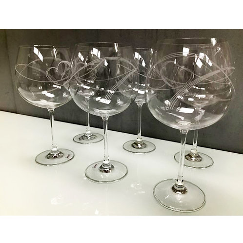 SET 6 SWIRL HEART DESIGN GIN GLASSES