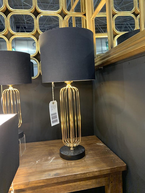 49CM GOLD BASE LAMP AND BLACK SHADE