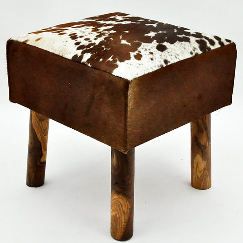 TAN AND WHITE COW-HIDE STOOL 45x43x43cm