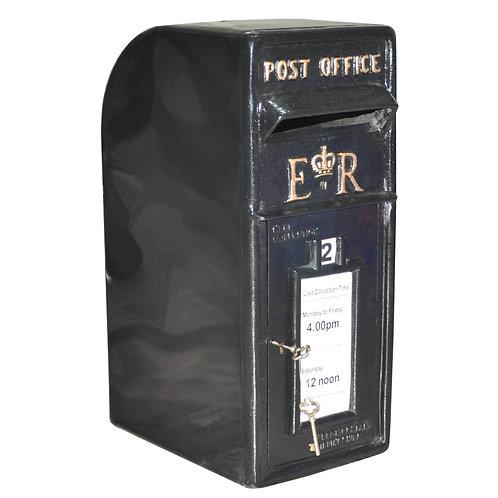 58CM BLACK CAST IRON POST BOX