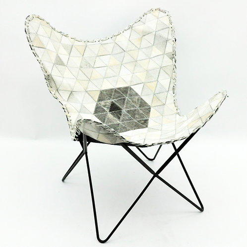 GREY COW-HIDE BUTTERFLY CHAIR