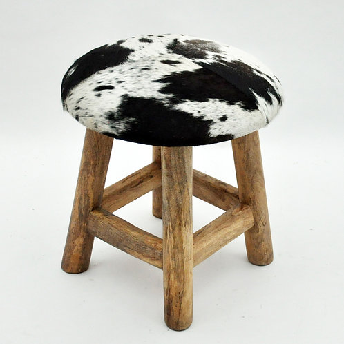 BROWN AND WHITE COW-HIDE STOOL
