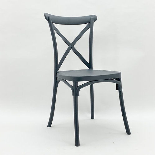 GREY PLASTIC FRENCH CROSS BACK CHAIR