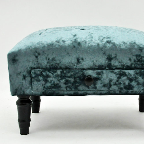 LUXURY BLUE VELVET FOOTSTOOL WITH DRAWER