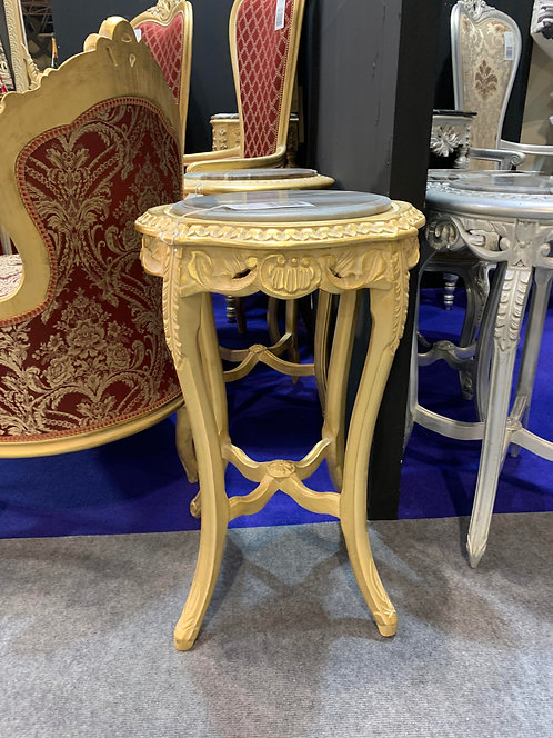 GOLD COFFEE TABLE WITH MARBLE TOP