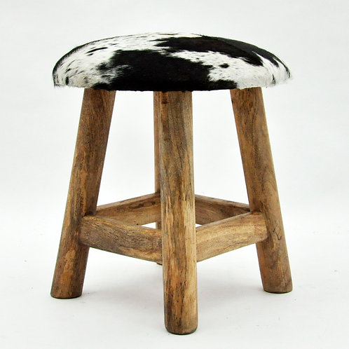 BLACK AND WHITE COW-HIDE STOOL 42x40x40cm