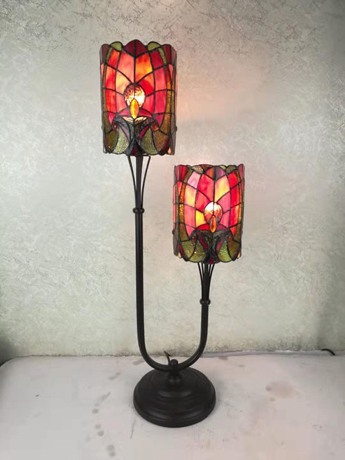 "6"" TWIN STEM TIFFANY LAMP"