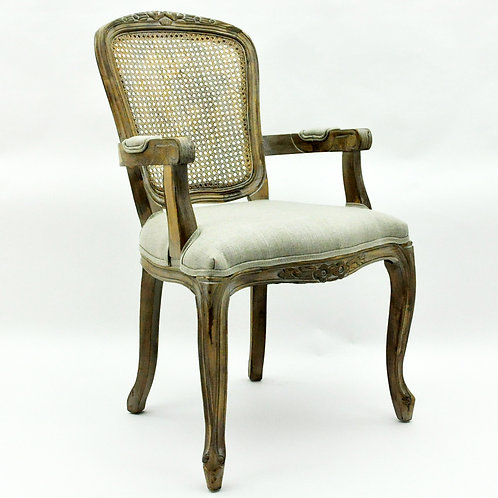 NATURAL FR RATTAN TAUPE LOUIS ARMCHAIR