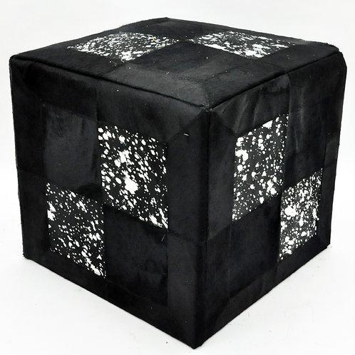 BLACK AND SILVER COW-HIDE POUF 45x45x45cm