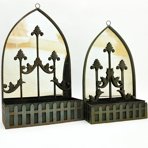 SET 2 46/37CM RUSTY WALL MIRROR WITH PLANTER