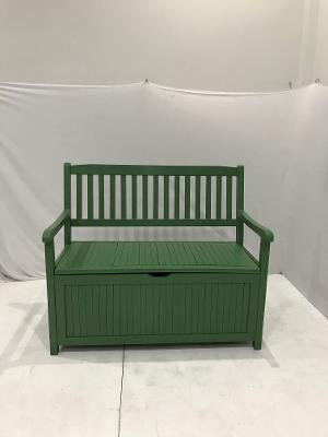 107CM GREEN PAINTED ACACIA STORAGE BENCH