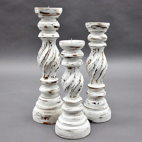 40/35/30CM SET 3 WHITE WASH CANDLESTICKS