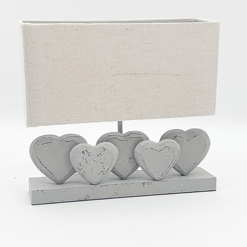36CM  WASHED WOOD FIVE HEART LAMP