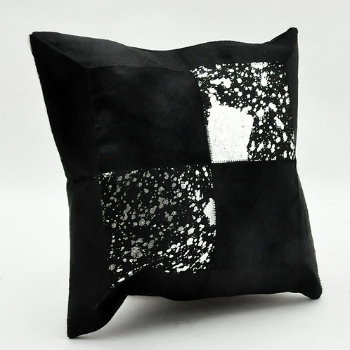 45X45CM BLACK AND SILVER COW-HIDE CUSHION