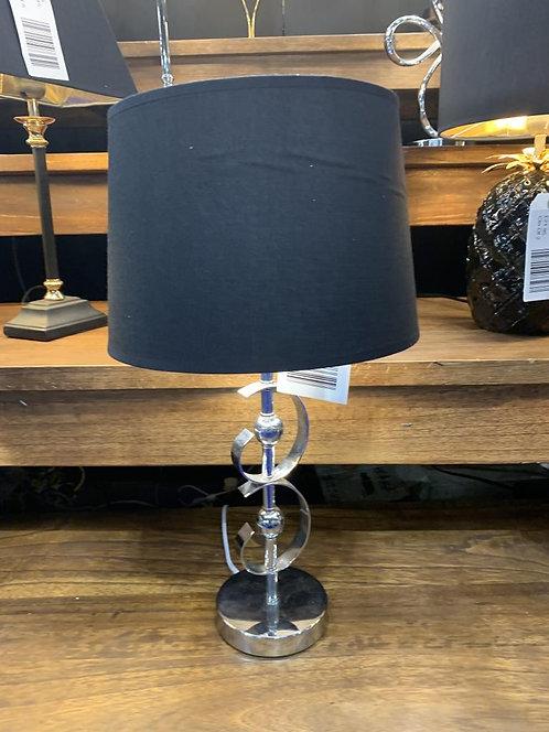 36CM SILVER BASE LAMP AND BLACK SHADE