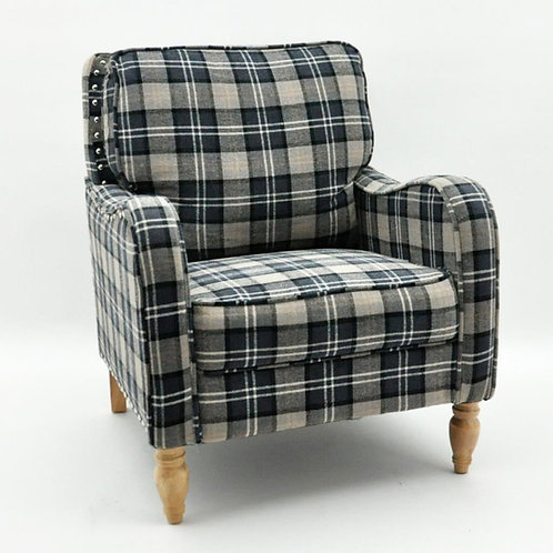 GRANITE GREY  CHECK FABRIC ARM CHAIR