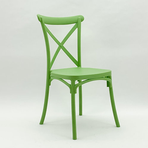 OLIVE GREEN PLASTIC FRENCH CROSS BAC CHAIR