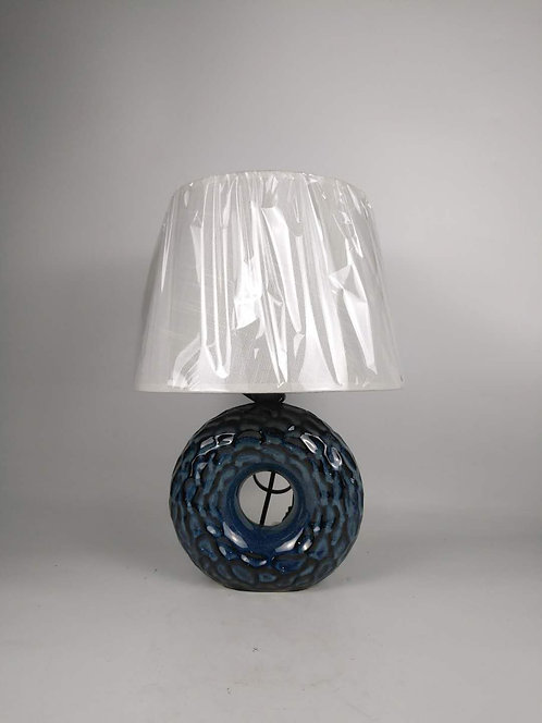 40CM BLUE CERAMIC  LAMP AND SHADE