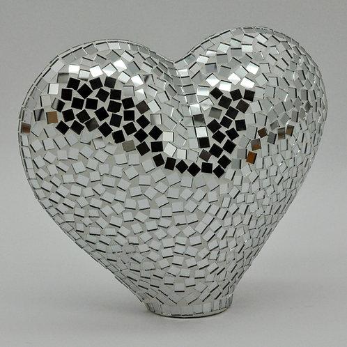 SILVER MOSAIC HEART