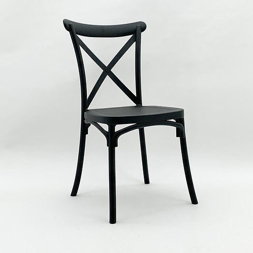 BLACK PLASTIC FRENCH CROSS BACK CHAIR
