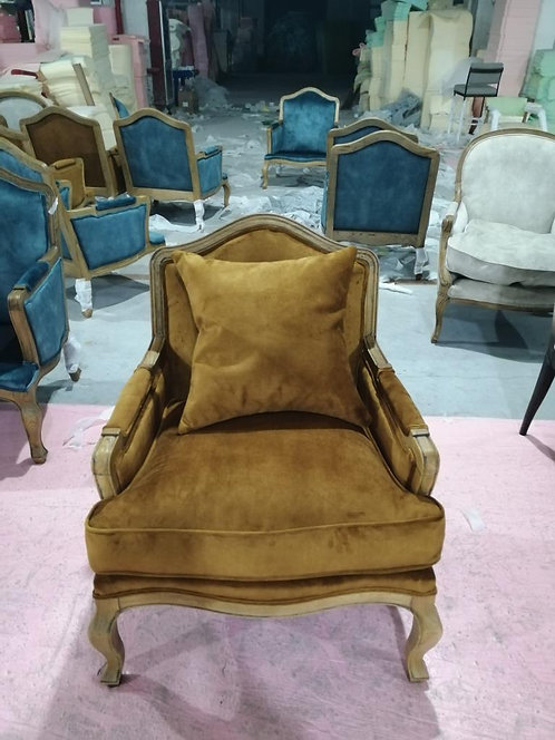 BROWN LEATHER CHAIR WOOD FRAME