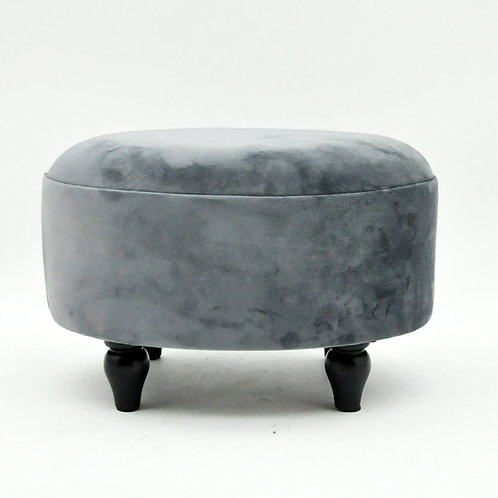 GREY VELVET OVAL FOOTSTOOL