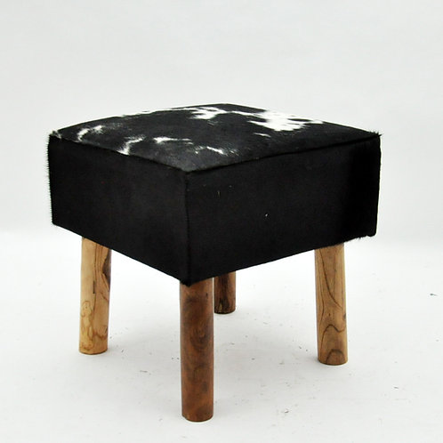 BLACK AND WHITE COW-HIDE STOOL 45x43x43cm