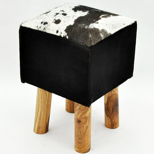 BLACK AND WHITE COW-HIDE  STOOL 45x30x30cm
