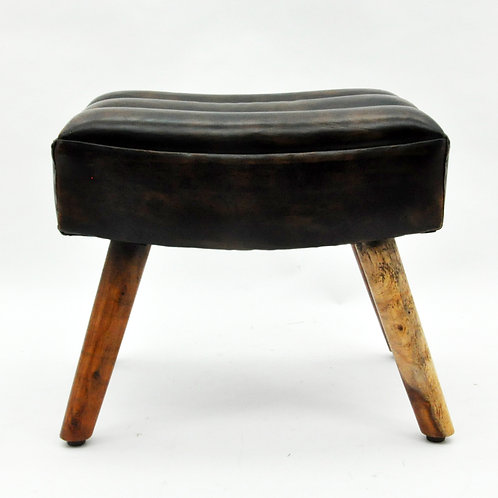 49CM WOODEN LEATHER STOOL