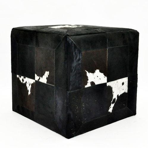 BLACK AND WHITE COW-HIDE POUF 45x45x45cm