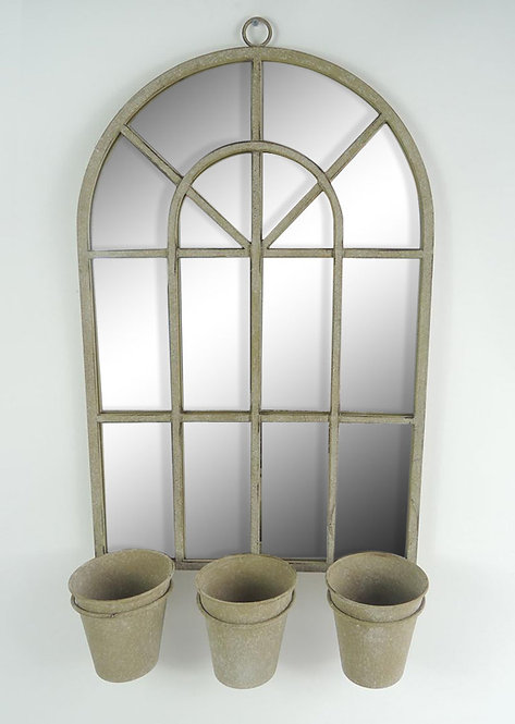 70CM RUSTY WALL MIRROR WITH TRIPLE PLANTER